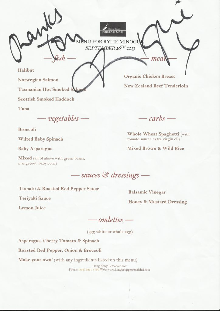 Kylie_Minogue_signed_menu-724x1024 Backstage at Kylie Minogue 2013 HK - Invisible Kitchen